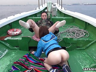 Oriental temptress Sena Sakura enjoying some steamy orgy after fishing