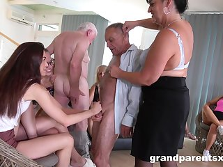 Older folks eagerly synthesize for kinky group fucking sport
