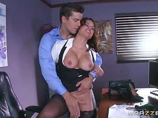 Sexy MILF is serious for a round of unimpassioned intercourse with hammer away new president