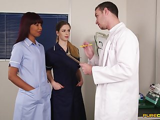 Alluring nurses are keen to share the doctor's dick in a kinky play