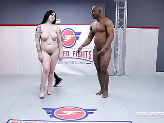 Mixed Wrestling Fight with Amilia Onyx battling Strength of character Tile and sucking that big black dick