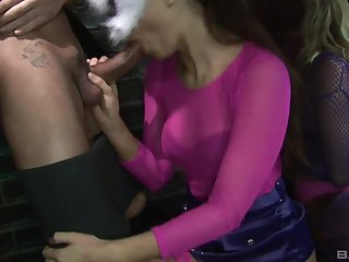 Back alley kinky orgy with babes wearing cat masks