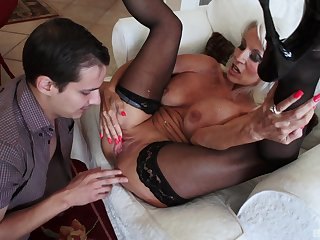 Mature amateur blonde granny Sally D'angelo pussy pounded missionary