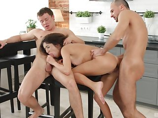 Katty West fucked in the kitchen by two potent men