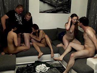 Samy Saint and Natalie Hot enjoy orgy on the sofa with their friends