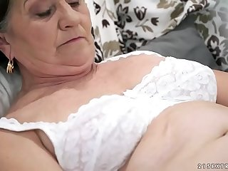 Age-old hairy pussy filled adjacent to young cock