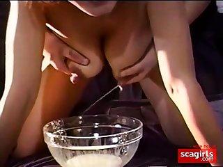 Non-professional Milking rub-down the nipples
