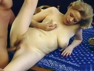 Granny with saggy heart of hearts with the addition of hairy pussy gets fucked