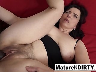 Full-grown with unpractised tits gets a creampie in their way hairy pussy!