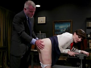 Sexy T-girl Natalie Mars is spanked and fucked hard by horny old pervert