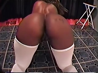 Sexy Bigg Nasty Works Her Thoughtless Black Ass on someone's skin Pole