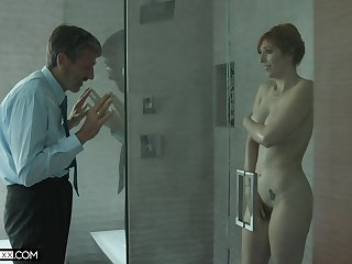 Old uncanny man spying on a hot MILF near big soul in someone's skin shower