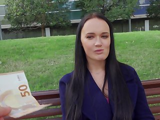 Excited Czech girl gets paid to fuck the big dick on cam